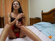 Skinny brunette camgirl plays with tits and pussy on cam