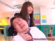 Japanese schoolgirl gives dude rusty trombone