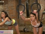 Fitness Rooms Flexible young teen fucks her teacher after sweaty workout