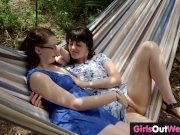 Randy hairy lesbian girls lick each other