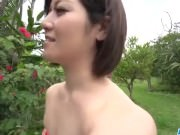 Dashing Asian woman, Minami Asano, full porn in outdoor