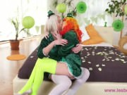 Lesbea Gina Gerson's tiny pussy hole filled by hot older lesbian