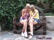Blonde ass lick hot  couple outdoor