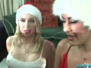 3 girl Christmas bukkake party